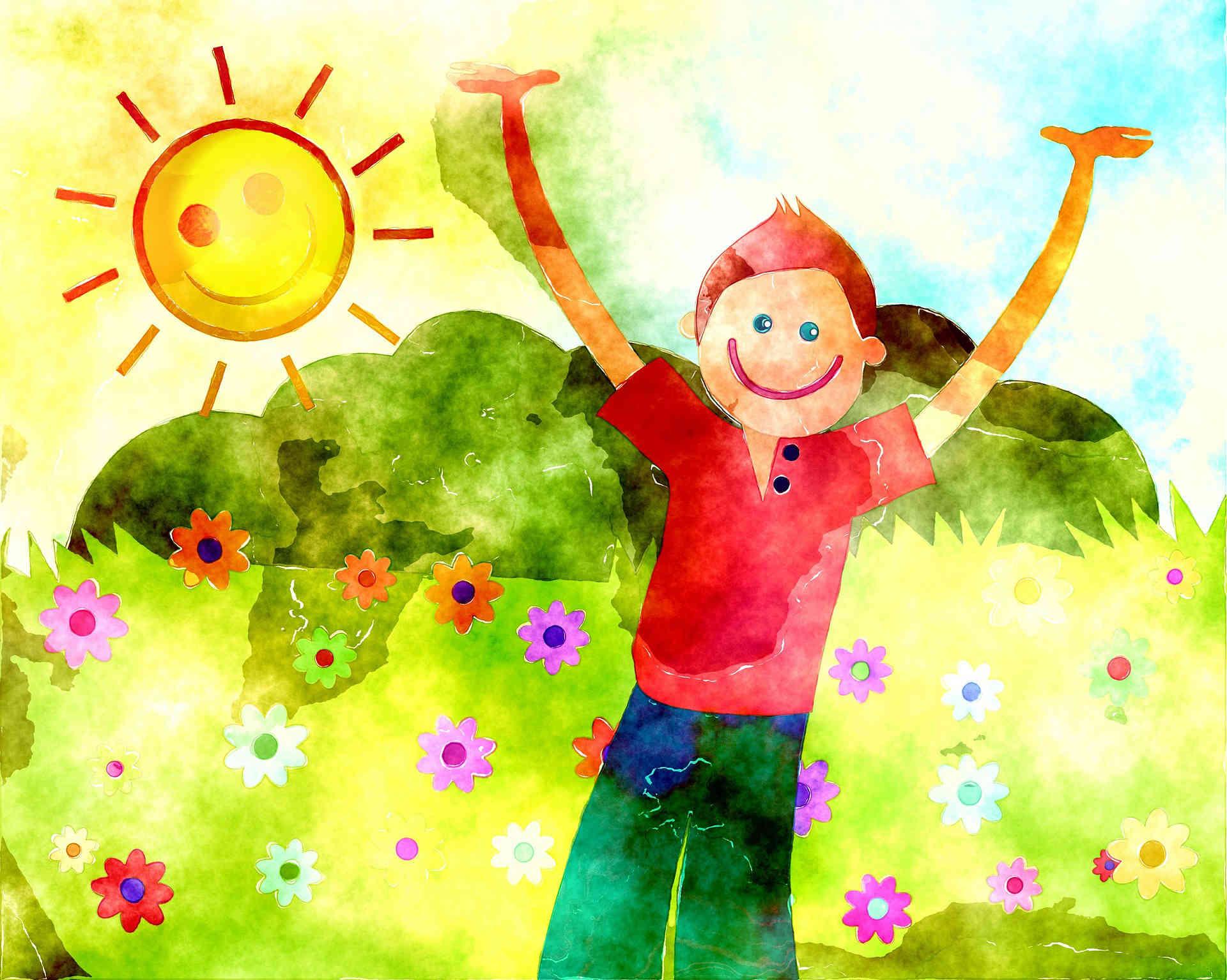 Слајд 2 - Цртеж воденим бојама на папиру на коме се налази дећак раширених руку ка небу који стоји на ливади обасјаној сунцем